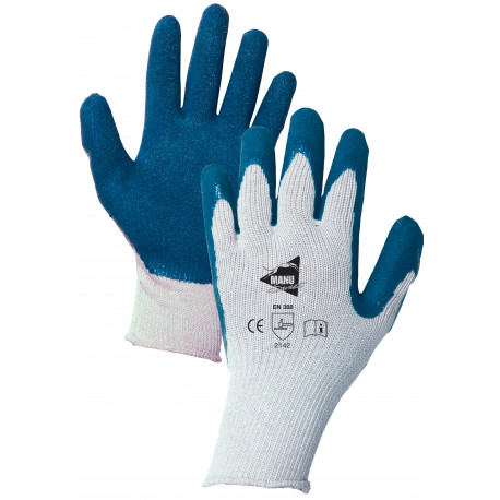 12 paires de gants enduction latex bleue MM014