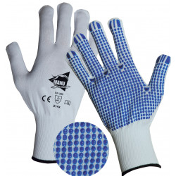 Lot de 12 paires de gants picots blancs GT412