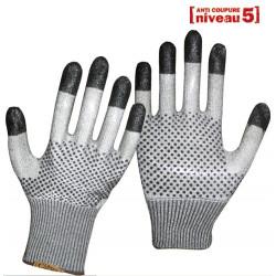 12 paires de gants anti-coupure double face picots PVC GT425