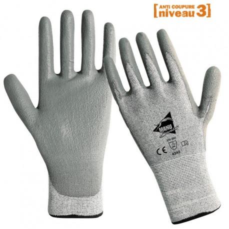 Gants anti-coupure gris polyuréthane ANT305s