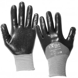 12 paires de gants manutention moyenne Nitrile noir HCT603